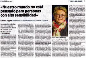 Personas Altamente Sensibles - Entrevista en el Periódico El Norte De Castilla de Valladolid